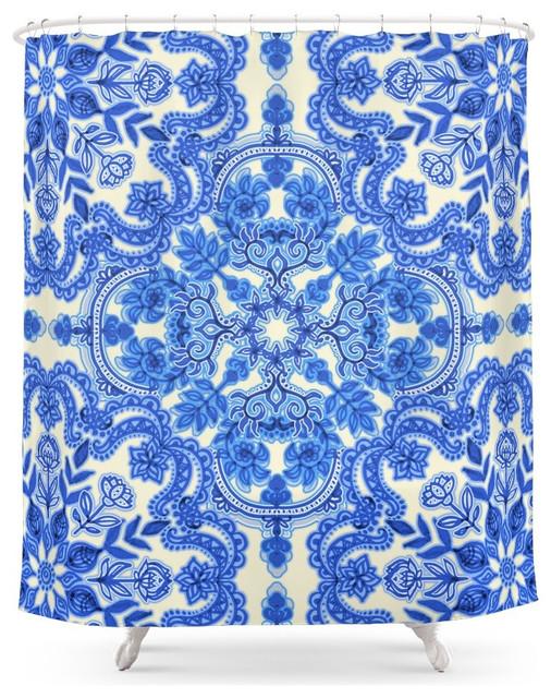 Shop Houzz | Society6 Society6 Cobalt Blue and China White Folk ...