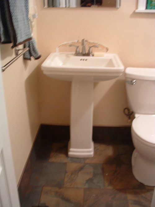- Pedestal Sink Back Splash Ideas - Please