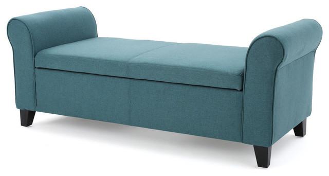 Astounding Gdf Studio Darrington Armed Fabric Storage Ottoman Bench Dark Teal Pdpeps Interior Chair Design Pdpepsorg