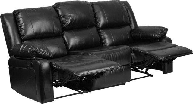 Harmony Series Black Leather Sofa With 2 Built-In Recliners
