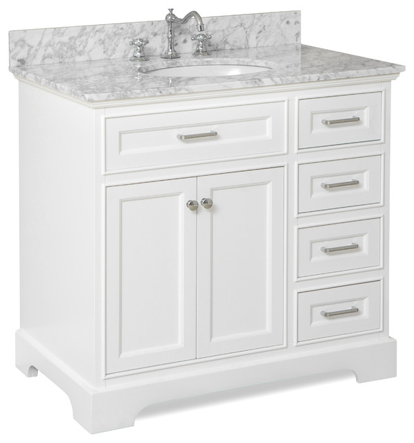Aria Bath Vanity Base White Top Carrara Marble 36 Transitional