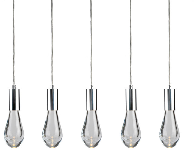Cosmopolitan 5 Light Linear Tear Drop Glass Pendant.