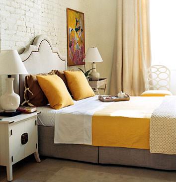 dominomag- eclectic yellow bedroom eclectic bedroom