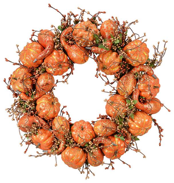 """18"""" Orange Gold Pumpkin Wreath."""