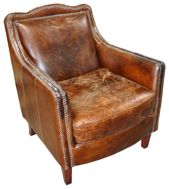 Nailhead Leather Club Chair Traditional Armchairs And Accent Chairs