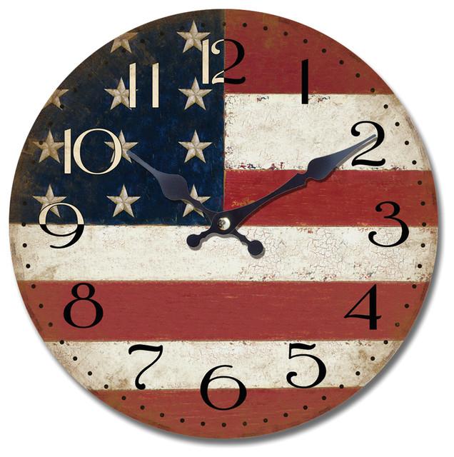 Yosemite Circular Wooden Wall Clock with American Flag Print