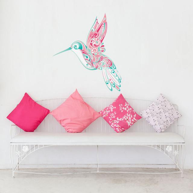 Hummingbird Swirl Wall Sticker Contemporary Wall Decals by