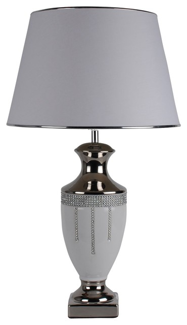 Diamante Table Lamp, White