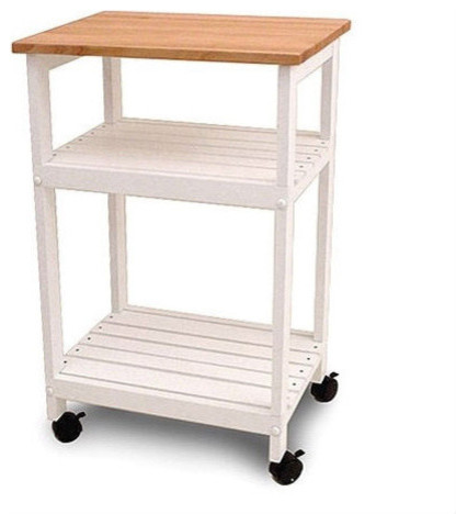 White Kitchen Microwave Cart With Butcher Block Top And Locking Casters Contemporary Islands