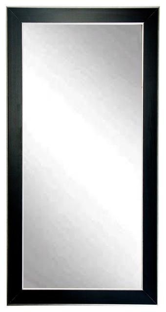 Silver Accent Black Dressing Floor Vanity Wall Mirror, 32x71.