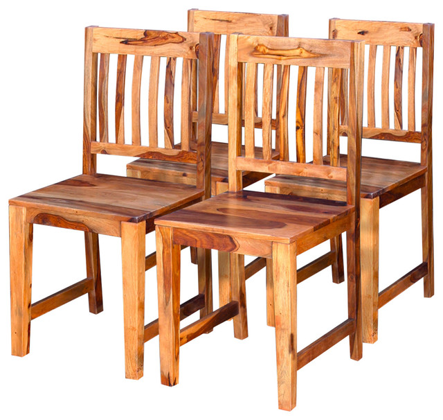 VidaXL Dining Chairs, Set of 4, Solid Sheesham Wood