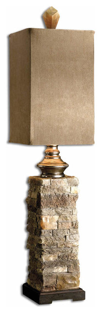 Uttermost Andean Layered Stone Buffet Lamp, Ivory And Brown Traditional  Table Lamps