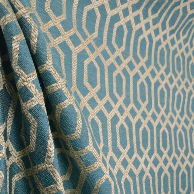 Parquet Slate Teal Blue Light Beige Grey Geometric Trellis Upholstery Fabric