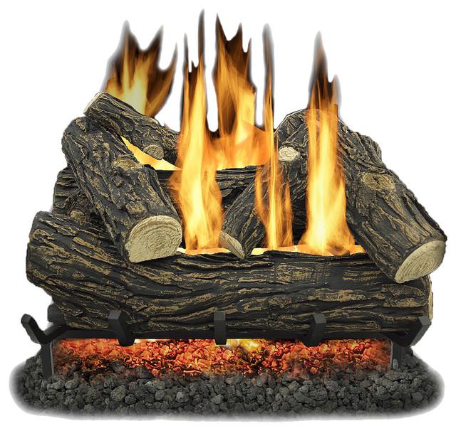 "Kozy World Glv024 Vented 24"" Natural Gas Legacy Oak Log Set 55,000 Btus."