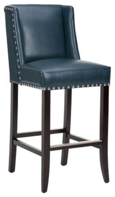 Fantastic Wing Back Bar Stool Blue Leather With Silver Nailhead Bar Seat Uwap Interior Chair Design Uwaporg