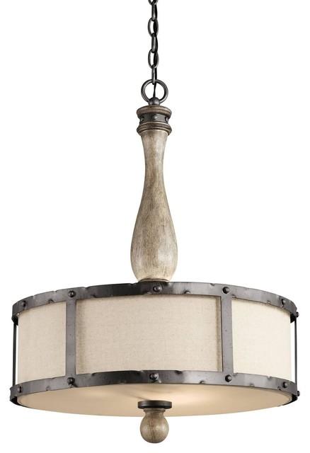 Update kichler lighting 43323dag evan 3 light pendant for Houzz rustic lighting