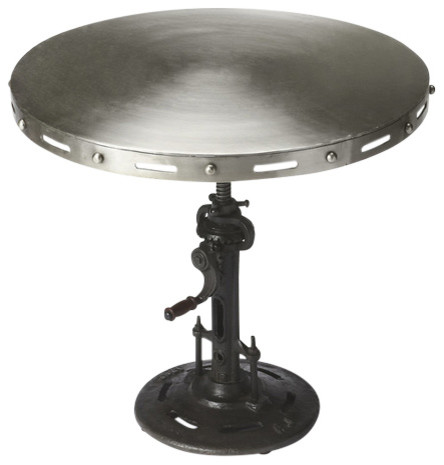 Industrial Chic Crank Accent Table - Silver.