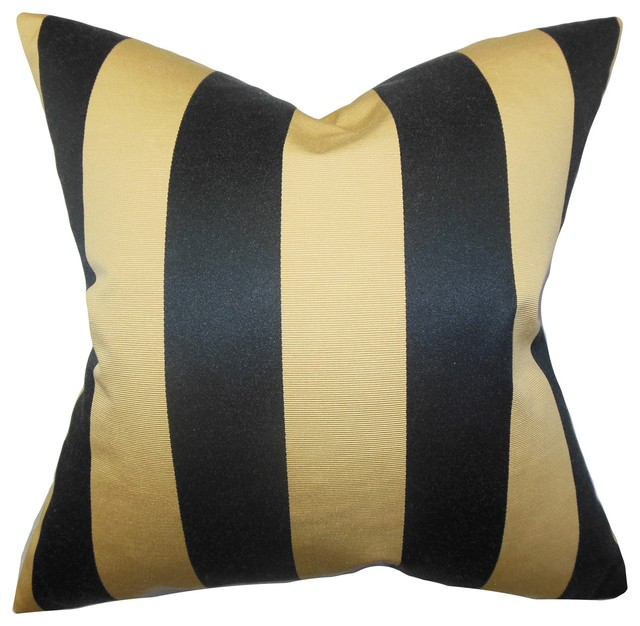 Naoko Stripes Pillow Gold Black - Traditional - Decorative Pillows - by The Pillow Collection Inc.
