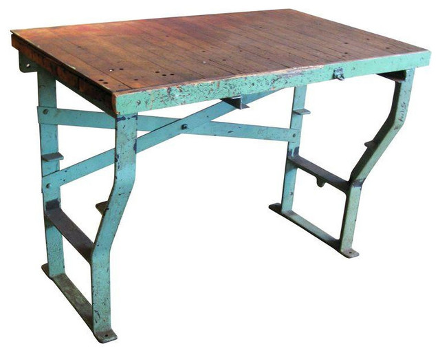 40s Factory Work Table Cast Iron Legs U0026 Maple Top Rustic Side Tables