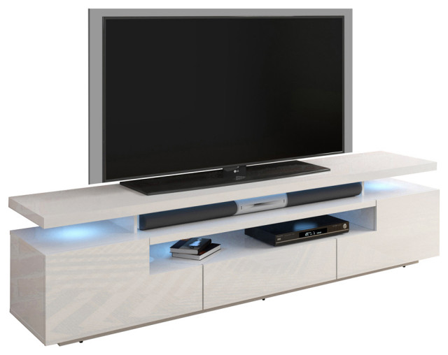 High Gloss BLACK /& WHITE TV Cabinet Stand Entertainment Unit with 2 Doors