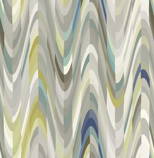 Aurora Blue Geometric Wave Wallpaper Bolt