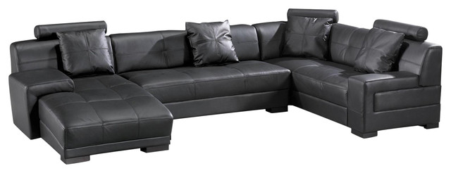 Marthena series 3334b 3 piece leather sectional for 3 piece black modern sectional sofa