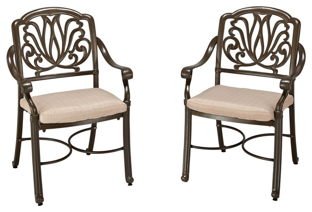 Floral Blossom Outdoor Armchairs, Set Of 2, Taupe.