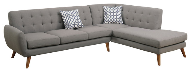 Modern Retro Sectional Sofa Taupe Gray