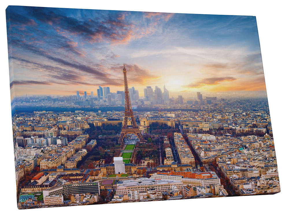 Paris City Skyline France watercolor Abstract Canvas Art Print 24x16/""