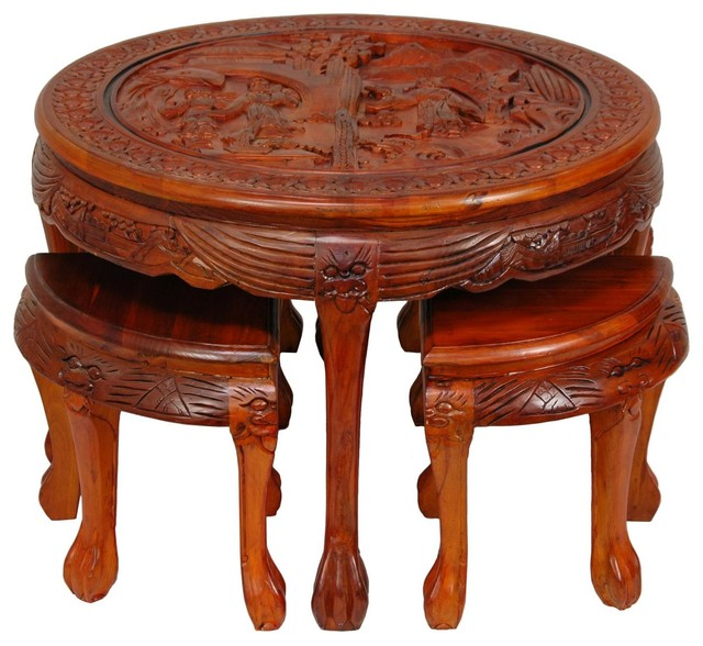 carved circular coffee table with stools - traditional - coffee