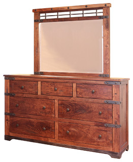 Jones 7-Drawer Dresser Mirror Hardwood Rustic Western Lodge Cabin Dovetail Glide