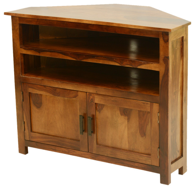 Farmhouse Indian Rosewood Corner TV Media Stand