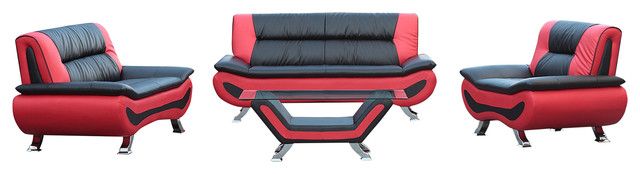 Magnolia 4-Piece Sofa Set With Coffee Table, Black And Red.