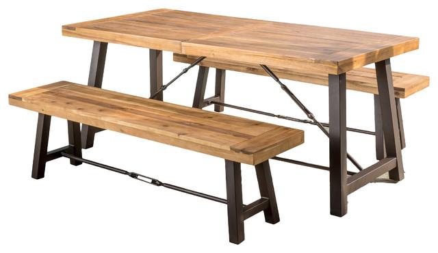 Austin Teak Finish Acacia Wood Dining Set.