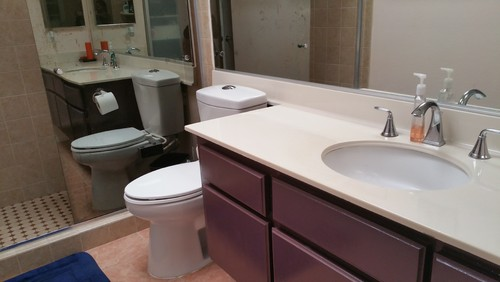 How To Paint Over Old Bathroom Cabinets bathroom makeover, please help