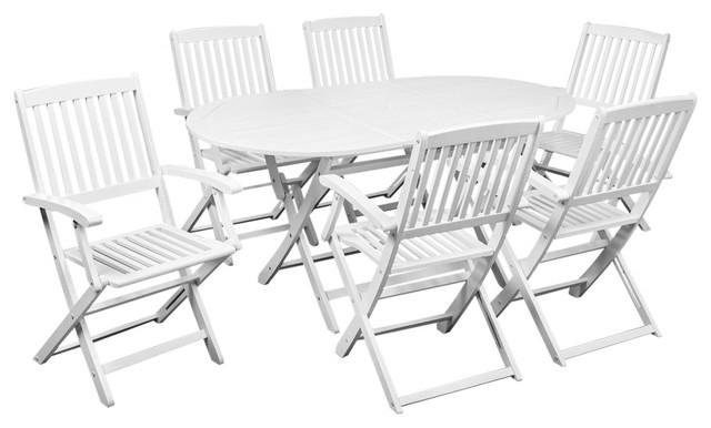 VidaXL 7 Piece Outdoor Dining Set White Acacia Wood Rustic Outdoor Dining