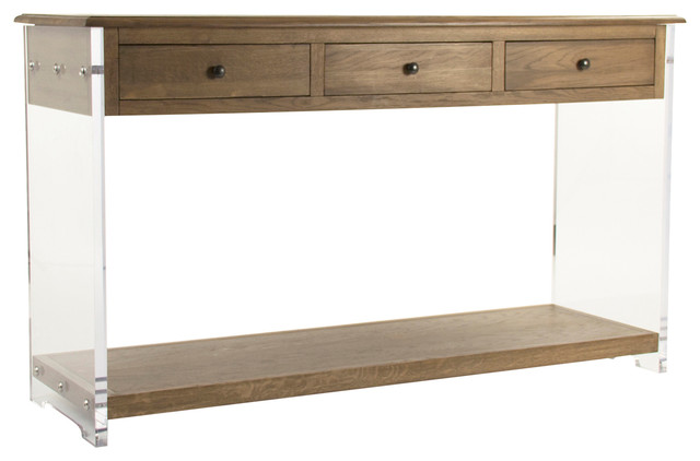 Canaan Modern Classic Oak Acrylic Console Table Modern Console Tables By Kathy Kuo Home