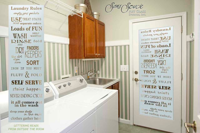 Laundry Room Door - Sandblast Frosted Glass - LAUNDRY RULES traditional- laundry-room