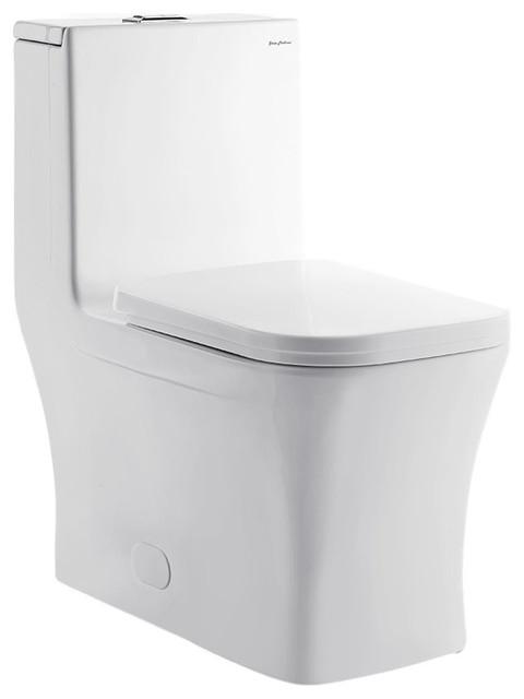 Concorde 1-Piece Square Elongated Toilet, Dual Flush, 0.8/1.28 g
