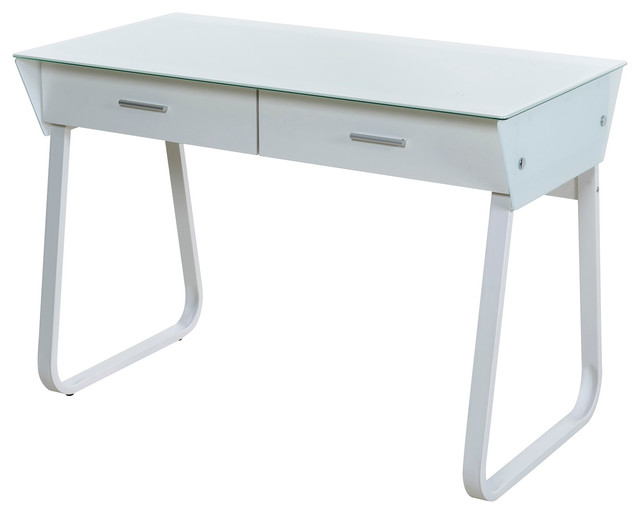 Onee Ultramodern Gl Computer Desk With Drawers White