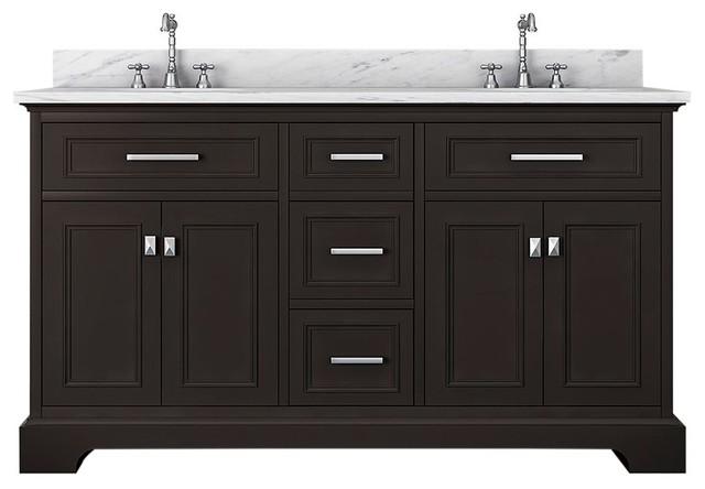 Pittsburgh 61 Double Bathroom Vanity Espresso Transitional Bathroom Vanities And Sink Consoles By Kolibri Decor