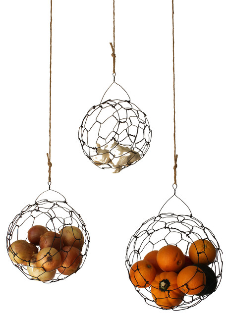 Handmade Hanging Wire Fruit And Vegetable Sphere Baskets