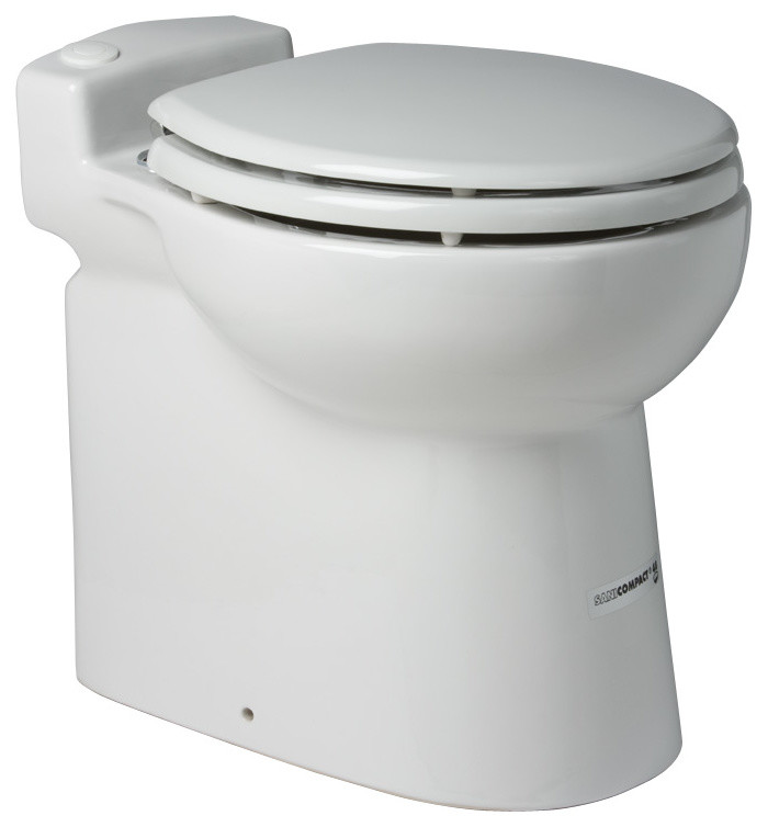 Sanicompact One Piece Dual 1 28 or 1 GPF Toilet With Macerator, White