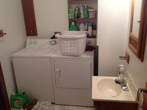 Half Bath Ideas On A Budget: Ugly, Dated Wicker In Bathroom / Laundry Room