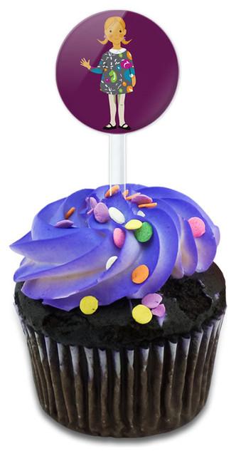 Little Girl Cartoon Cupcake Toppers Picks Set.