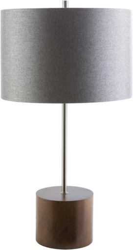 Kingsley Modern Round Drum Table Lamp, Dark Wood Modern Table Lamps