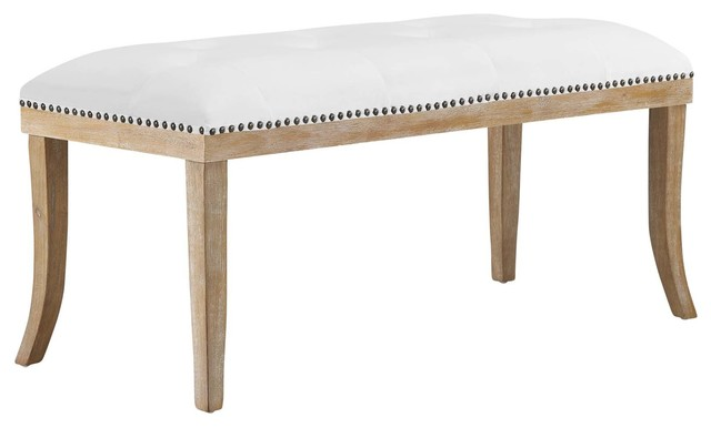 Expression Upholstered Fabric Bench, Ivory.
