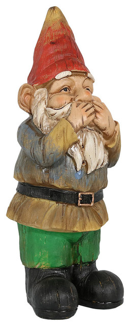 Sunnydaze 3 Wise Gnomes Collection, Seth Speaks No Evil Eclectic Garden  Statues