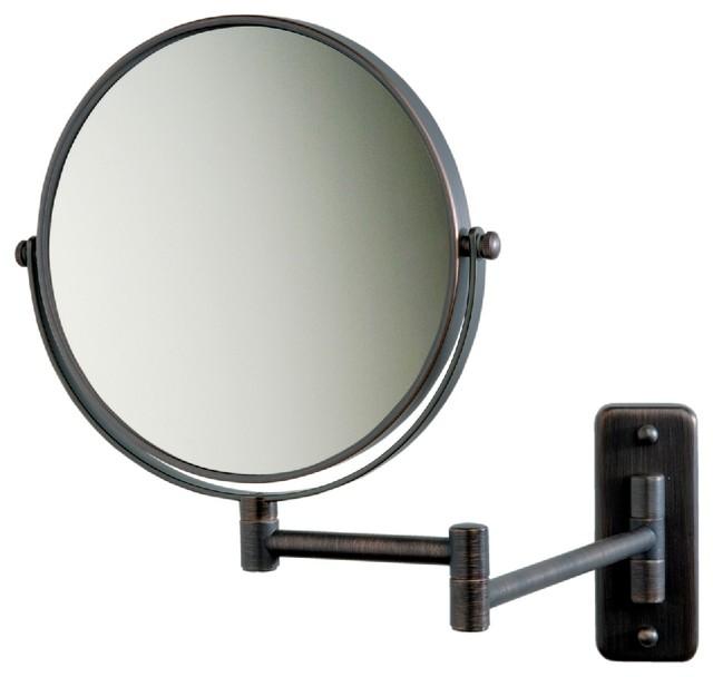 Modern Wall Mounted Make-Up Mirror, Bronze