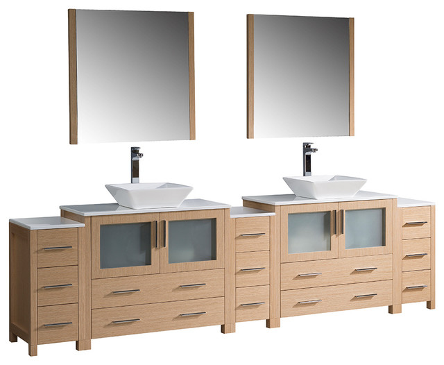 Torino 108 Light Oak Modern Double Sink Bathroom Vanity With 3 SideCabi